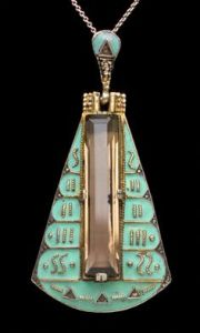 THEODOR FAHRNER Art Deco Pendant Gilded silver Enamel Smokey Quartz Marcasite Egyptian revival, German, c.1930