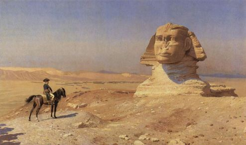 Napeoleon Bonaparte before the great Sphinx (ca 1868) by Jean-Leon Gerome, Hearst Castle.