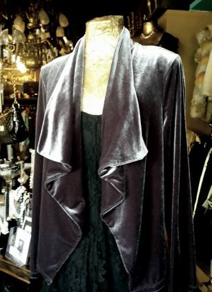 Elegant silk velvet waterfall jacket