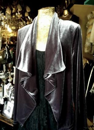 Elegant silk velvet waterfall jacket